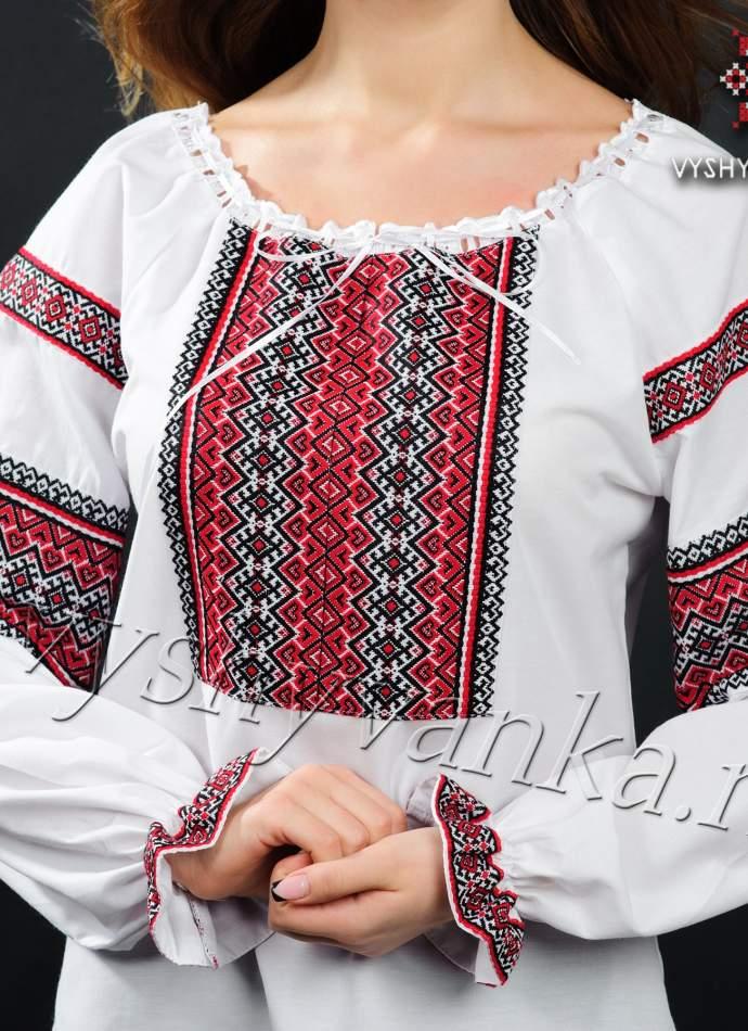 Вишиванка жіноча з чорно-червоною нашивкою, арт. 0038