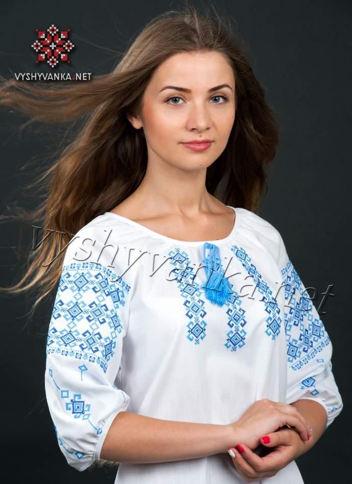 Вишиванка бавовна жіноча, арт. 0039р.3/4-синя