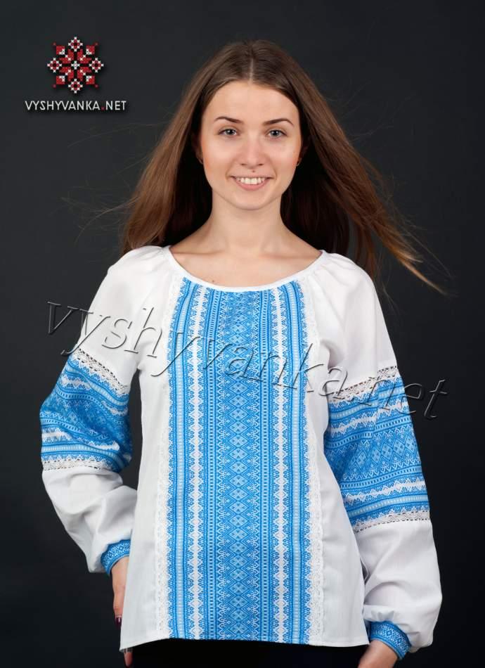 Вышиванка женская с синим орнаментом, арт. 0041
