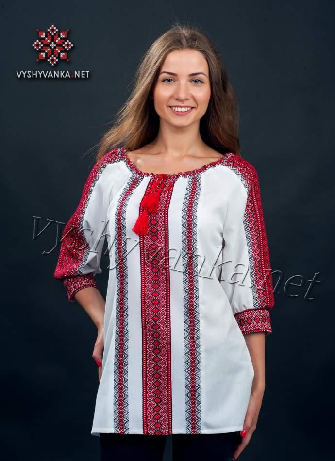 Вишиванка жіноча ткана з червоним орнаментом, арт. 0046
