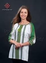 Вишиванка жіноча з зеленим орнаментом, арт. 0048