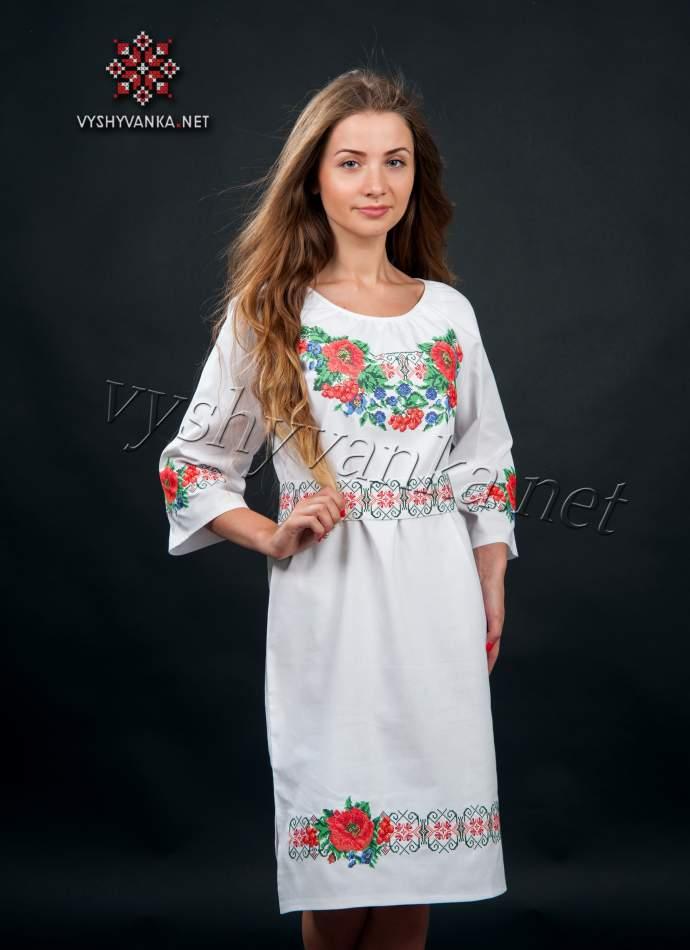 Платье в украинском стиле с маками, арт. 0074-б