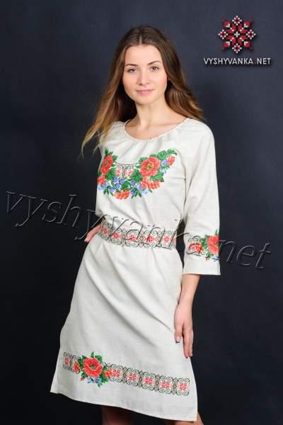 Сукня з вишивкою маки, арт. 0074