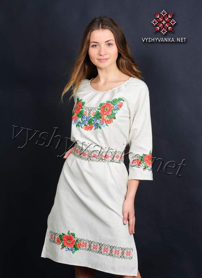Платье с вышивкой маки, арт. 0074