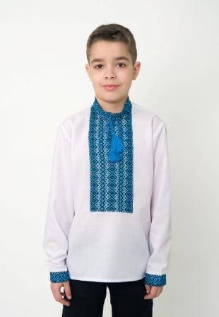 Вишиванка на хлопчика синя нашивка, арт. 0119