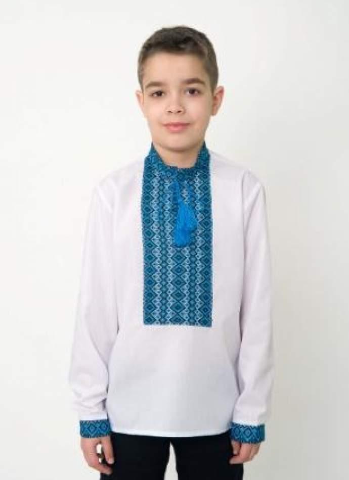 Вышиванка на мальчика синяя нашивка, арт. 0119