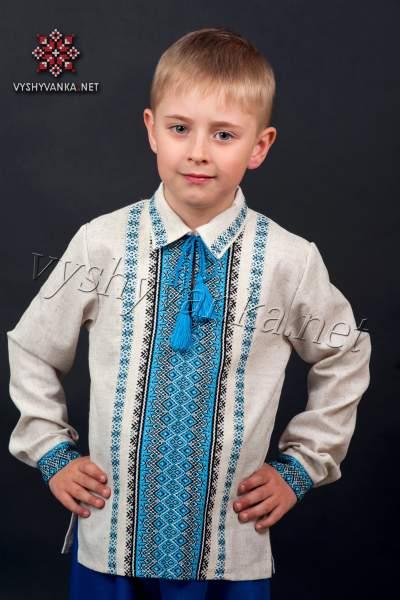 Вышиванка с рубашечным воротником на мальчика, арт. 0125-сіра