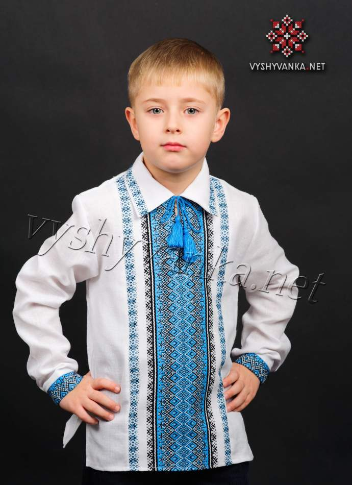 Тканая вышиванка с воротником на мальчика, арт. 0125