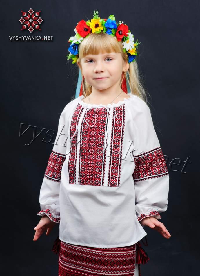 Вышиванка в украинском стиле на девочку, арт. 0134