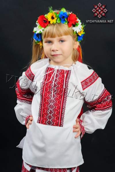 Вишиванка на дівчинку з тканою вишивкою, арт. 0142