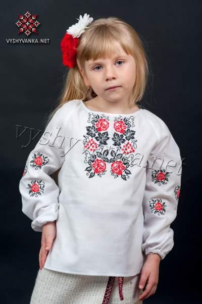 Вышиванка девочке с розами, арт. 0188