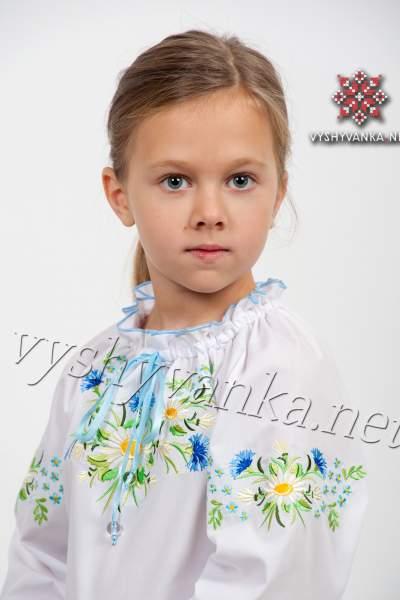 """Дитяча вишиванка для дівчинки """"Ромашки-волошки"""", арт. 0190"""