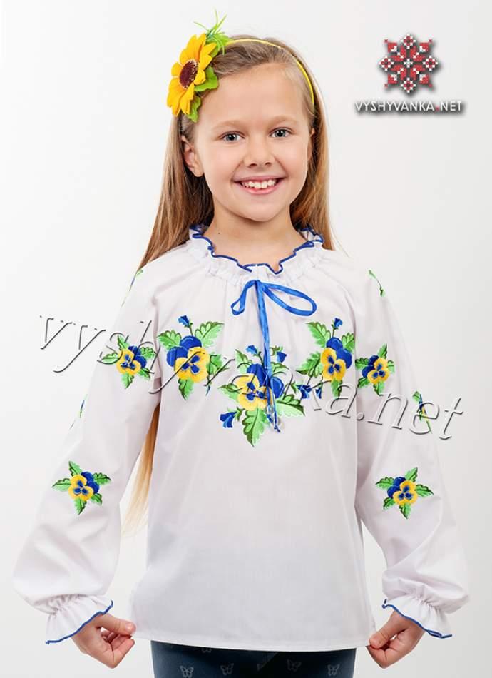 """Вишиванка дитяча на дівчинку """"Фіалки"""", арт. 0195"""