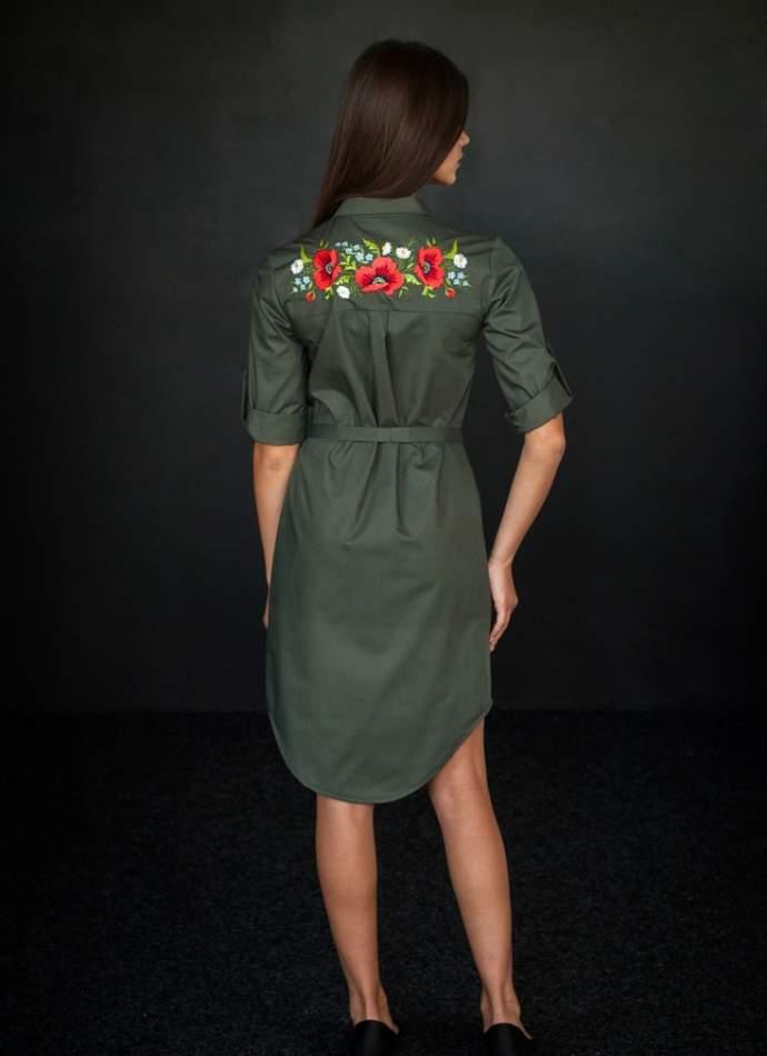 Платье рубашка с вышивкой маки, арт 4503