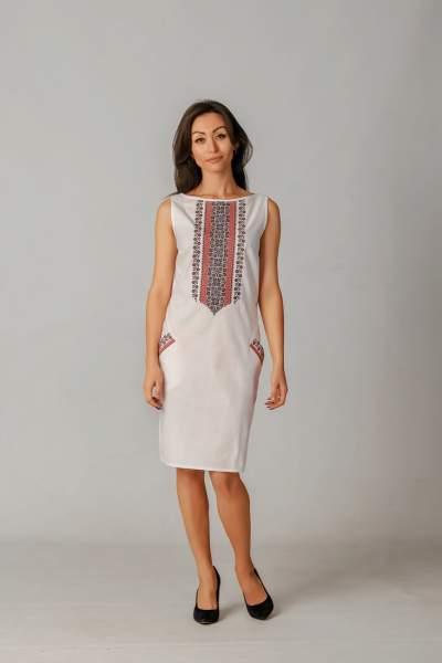 Белое платье-футляр с вышивкой, арт. 4112
