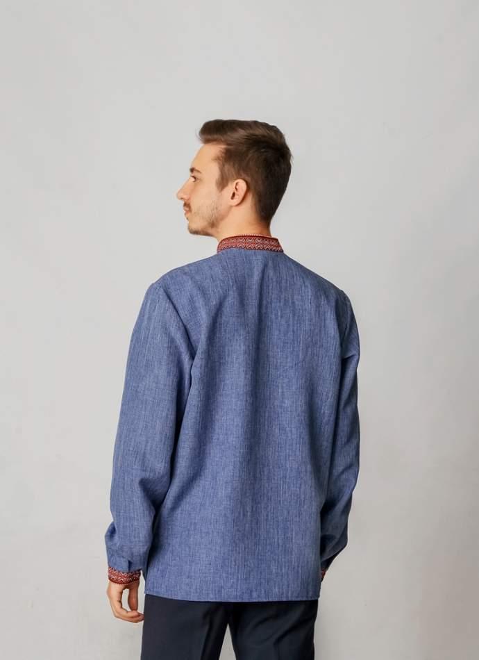 Вишиванка чоловіча з тканою нашивкою джинс, арт. 2041