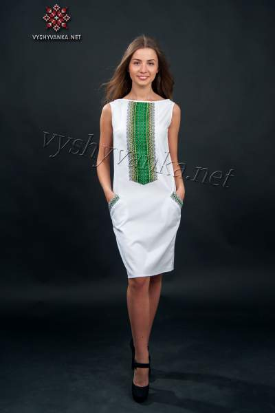 Платье с украинской вышивкой без рукавов, арт. 1003