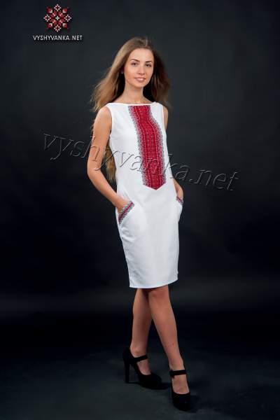Белое платье-футляр в украинском стиле, арт. 1004