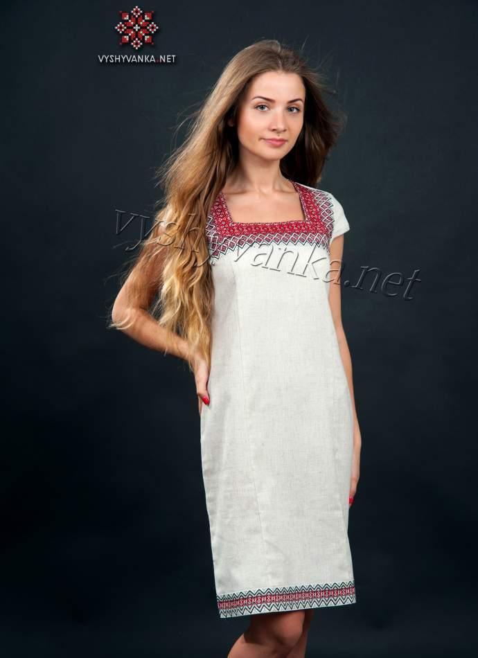 Приталенное платье в украинском стиле, арт. 1010, разм. 42