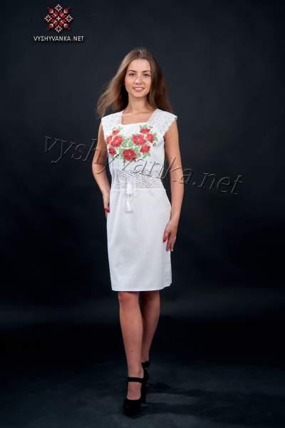 Сукня з мереживом та вишивкою маки, арт. 1017