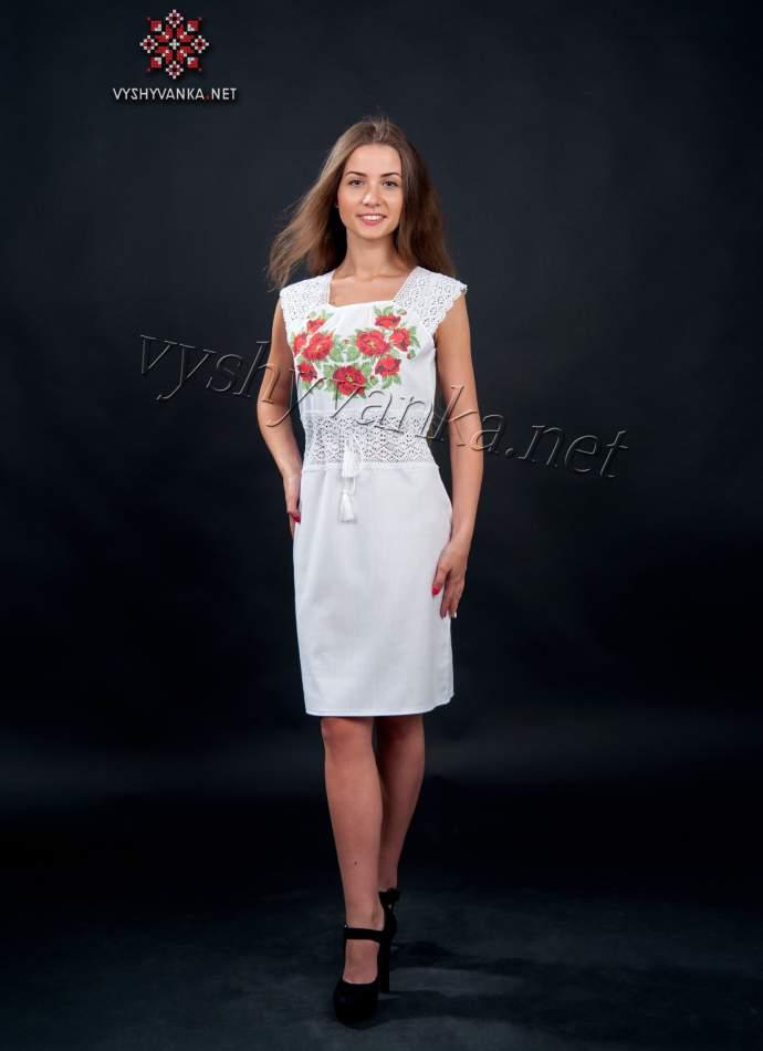 Платье с кружевом и вышивкой маки, арт. 1017