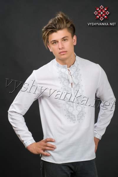Белая рубашка с вышивкой мужская, арт. 2070