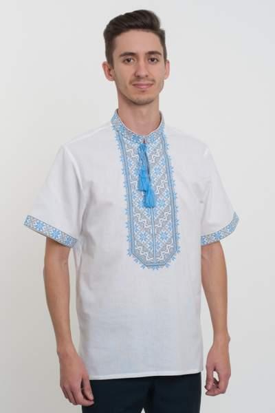Вишиванка чоловіча з синім орнаментом, арт. 2071к.р.