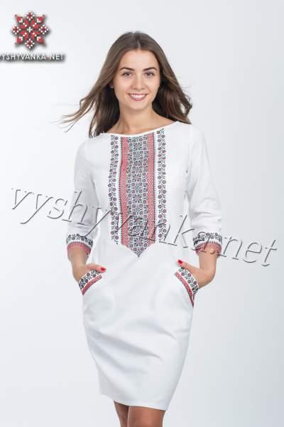 Біла сукня-футляр з вишивкою, арт. 4112