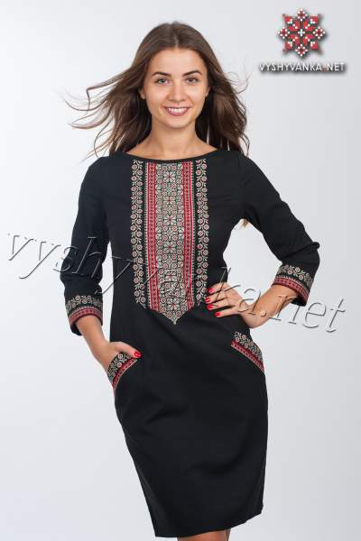Молодіжне плаття з вишивкою чорне, арт. 4114