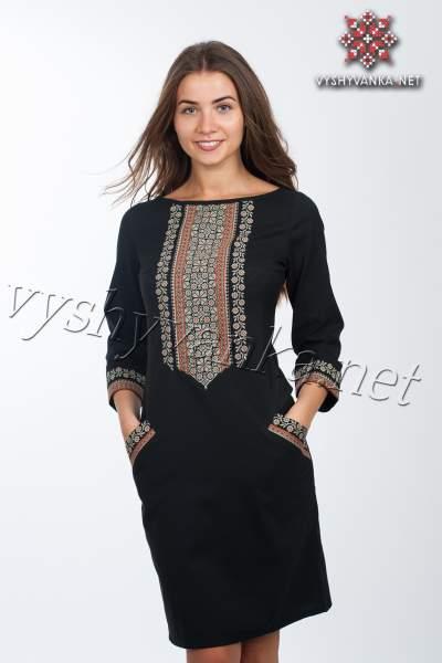 Черное платье с вышивкой, арт. 4115