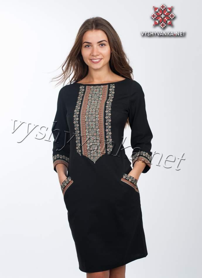 Чорне плаття з вишивкою, арт. 4115