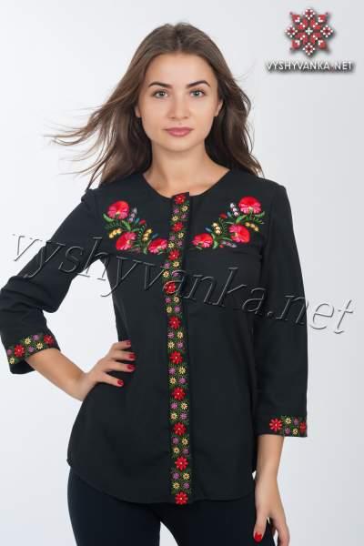 Модна чорна вишиванка жіноча, арт. 4118