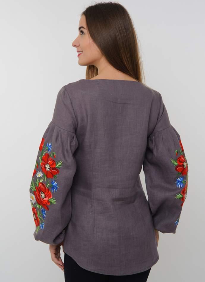 Дизайнерська жіноча вишиванка на льоні, арт. 4136