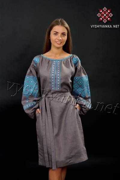Лляна сукня-вишиванка коричнево-сіра, арт. 4147