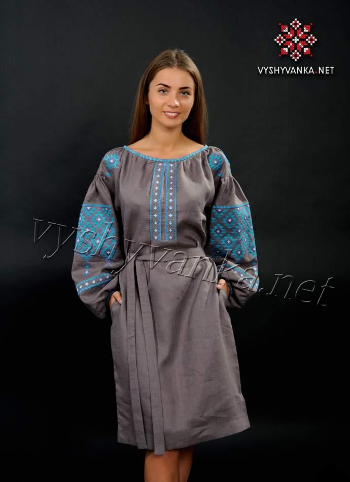 Льняное платье-вышиванка коричнево-серое, арт. 4147
