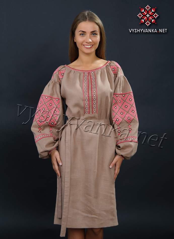 Льняное вышитое платье коричневое, арт. 4148