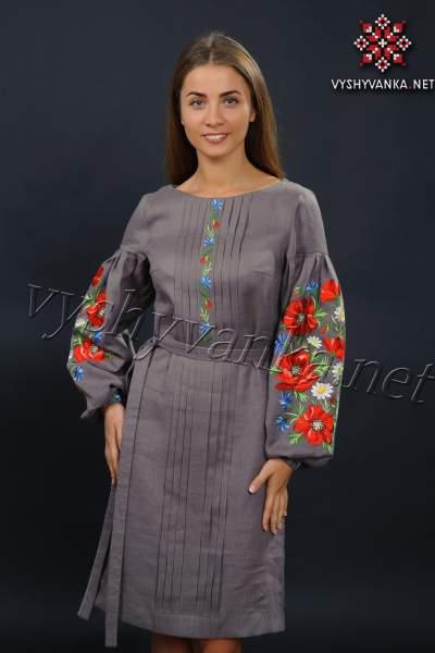 Льняное вышитое платье с маками, арт. 4150