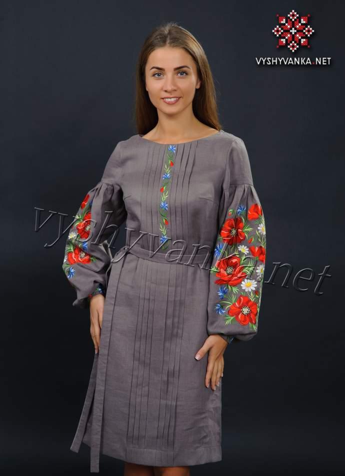 Лляне вишите плаття з маками, арт. 4150