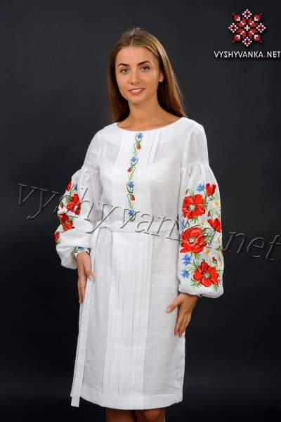 Белое платье вышиванка с маками, арт. 4151