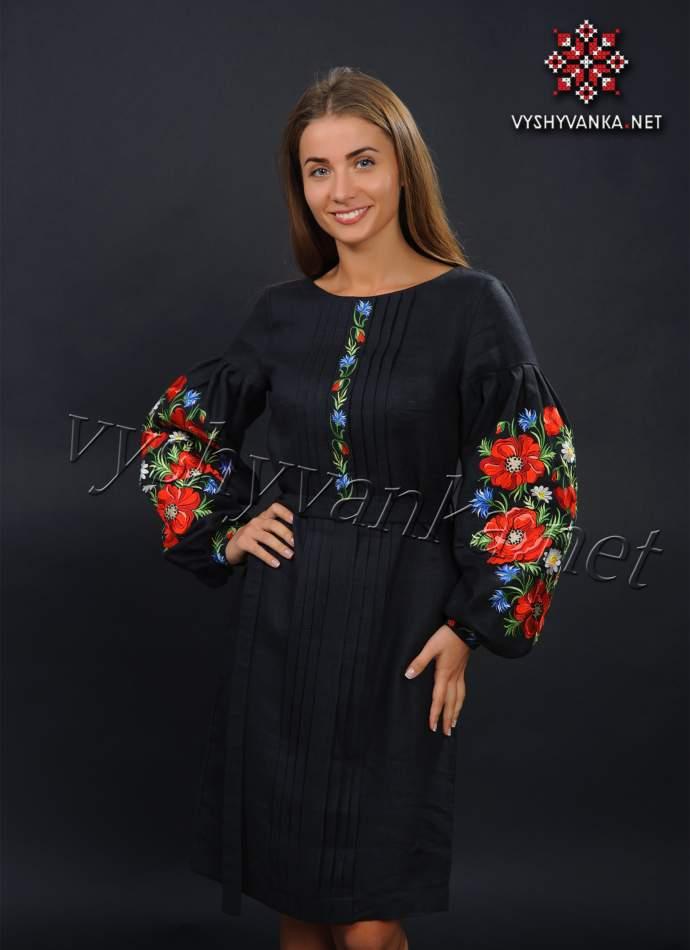 Чорна сукня вишиванка з маками, арт. 4152