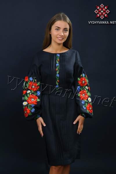 Черное платье вышиванка с маками, арт. 4152
