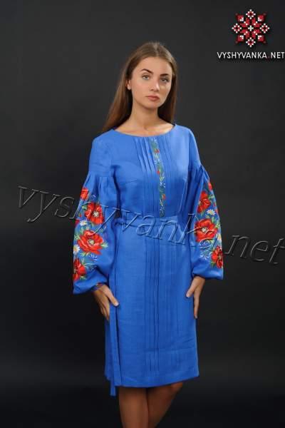 Синее платье с маками (дизайнерская вышиванка), арт. 4153