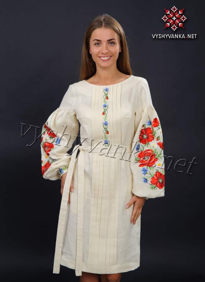 Платье молочного цвета с вышивкой маки, арт. 4154