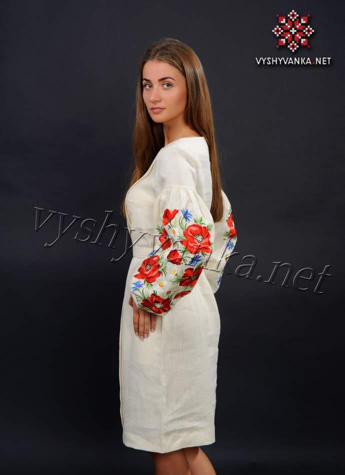 Плаття молочного кольору з вишивкою маки, арт. 4154