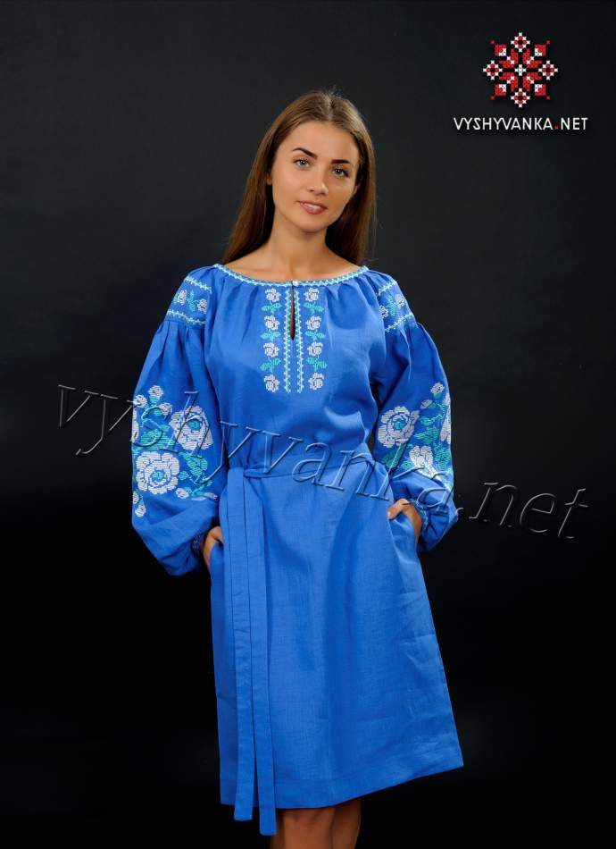 Лляне плаття з вишивкою світло-синє (троянди), арт. 4157