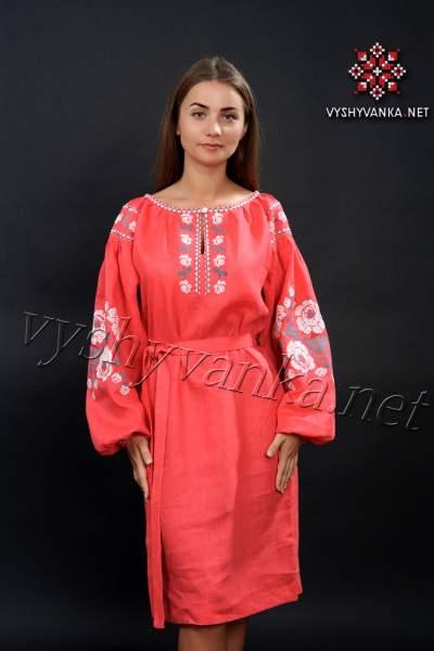 Лляна сукня вишиванка червона, арт. 4160