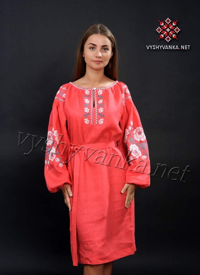 Льняное платье вышиванка красное, арт. 4160
