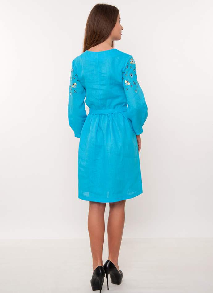 Бірюзове плаття вишиванка на льоні, арт. 4170