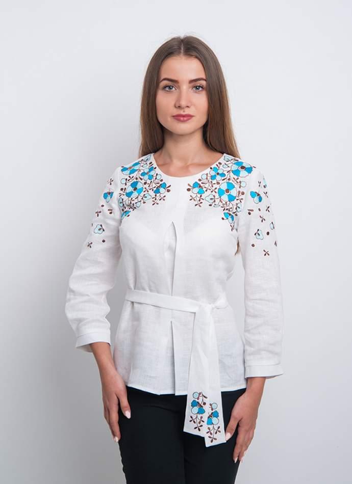 Вишита блузка з квітами (вишиванка) арт. 4172