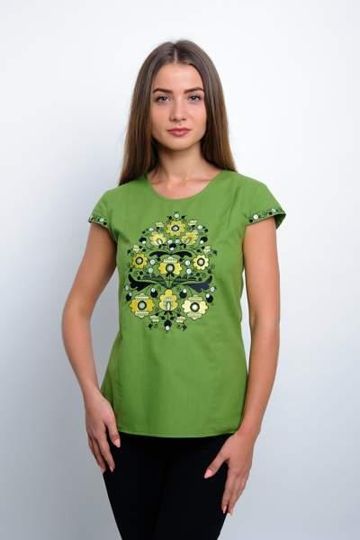 Зелена футболка з квітковою вишивкою, арт. 4173